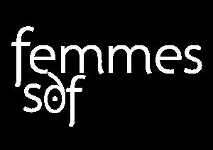 Logo uniforme blanc de l'association Femmes SDF Grenoble, accueil et accompagnement de femmes en errance